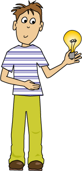 boy holding lightbulb